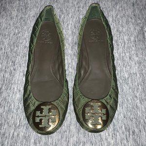 Tory Burch Green Nylon Quinn Flats Size 8